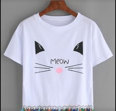 6ffcbc1a2c Shop White Cat Print Tassel Trim T-shirt online. ROMWE offers White Cat  Print Tassel Trim T-shirt   more to fit your fashionable needs.