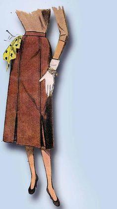 1950s Vintage Simplicity Sewing Pattern 4414 Uncut Misses Skirt Size 24 Waist.