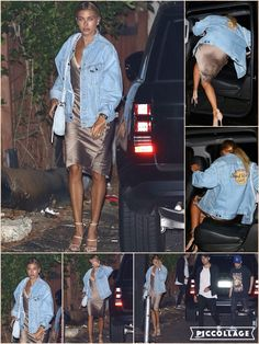 She's recently been showcasing her curves alongside Baywatch babe Charlotte McKinney. But Hailey Baldwin was determined to cover up her showstopping figure on Thursday, as she donned a Hard Rock Cafe jean jacket during a night out at West Hollywood's The Nice Guy. The 19-year-old model wore an oversized denim jacket over her mink-coloured slip dress, which boasted a plunging lace neckline and asymmetrical hem.