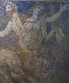 This picture provided by Greece's Culture Ministry on Thursday, Oct. 16, 2014, shows the ancient Greek god of the underworld, Pluto, abducting the goddess Persephone on a horse-drawn chariot, in a detail from a large composition on a mosaic floor found in a large 4th century B.C. tomb at Amphipolis in northern Greece. The ministry said Thursday that archaeologists excavating the large, apparently plundered tomb have uncovered the entire 3-by-4.5 meter (10-by-15 ft.) mosaic, which is ...