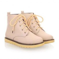 $24.65 Sweet Women's Matin Boots With Candy Color and Lace-Up Design