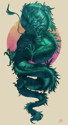 30 Legendary Chinese Dragon Illustrations and Paintings - Jade Dragon by Lydia . - 30 Legendary Chinese Dragon Illustrations and Paintings – Jade Dragon by Lydia Praamsma – - Dragon Vert, Jade Dragon, Green Dragon, Dragon Ball, Fantasy Creatures, Mythical Creatures, Japanese Dragon, Japanese Art, Chinese Dragon Tattoos