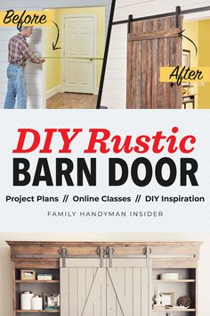 Do it ALL yourself with this toolbox of support. Tackle even the hardest projects with access to project plans, online quick classes, Family Handyman magazine & exclusive benefits! Diy Furniture Projects, Home Projects, Diy Barn Door, Barn Doors, Shabby Chic Bedrooms, Rustic Barn, Rustic Decor, Farmhouse Decor, Farmhouse Ideas