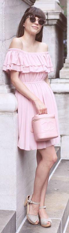 Emilee Anne Pink Bardot Ruffle Dress