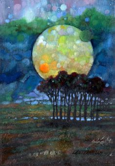 Harvest Moon Sketch Painting by John Lautermilch