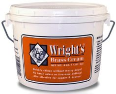Weiman Brass Cream Polish by Wright. Save 1 Off!. $24.80. Gentle cleaner for tarnish removal without scratching. Industrial size. Detergent blend for cleaning and easy rinsing. Wright's Brass Cream quickly shines without messy drips. No more harsh odors or tiresome buffing. Wright's Brass Cream is easy to apply and ideal for all your unlacquered brass objects. It is also effective for copper and bronze, but should not be used on lacquered metals.