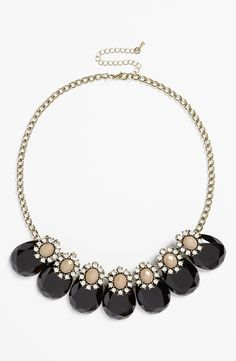 Such a gorgeous black and crystal teardrop frontal necklace!