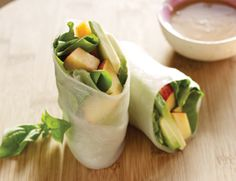 Nectarine and Basil Summer Rolls with Almond Sauce