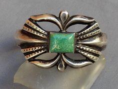 Heavy Old Vintage Navajo Cast Stamped Silver Turquoise Bracelet