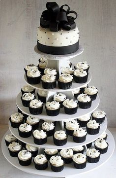 Cheap Wedding Ideas -change the colors but simple and chic/ borrow the tower? Cheap Wedding Ideas -change the colors but simple and chic/ borrow the tower? Cheap Wedding Cakes, Wedding Cakes With Cupcakes, White Wedding Cakes, Purple Wedding, Gold Wedding, Wedding Hair, Floral Wedding, Black And White Wedding Theme, Black White Parties