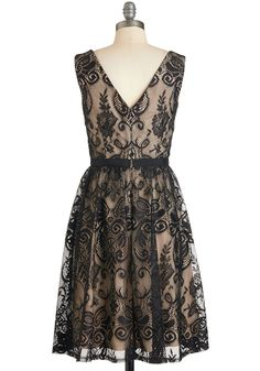 Flair for Fastidious Dress. Your keen eye for detail and brilliant taste lead you to this black lace A-line!  #modcloth