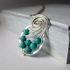 Turquoise Jewelry Fibonacci Nautilus Necklace Math by holmescraft