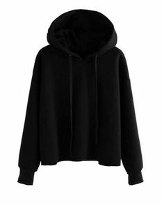 SheIn(sheinside) Hooded Sweatshirt With Drawstring Black Hoodie Outfit, Hooded Sweatshirts, Clothes, Fashion Hoodies, Fashion Fall, Jumpers, Capsule Wardrobe, Mockup, Polyvore