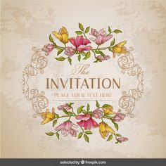 Cartão do vintage com um quadro floral