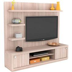 Foto 1 - Rack com Painel Wood Tamburato Grigio - Orb Living Room Tv Wall, Tv Cabinet Design, Tv Unit Furniture, Furniture Design, Living Room Tv, Tv Stand Designs, Living Room Tv Unit Designs, Wall Unit Designs, Tv Room Design