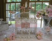 Beautiful Set of Antique White Bird Cages / Baby Shower Card Holder / Wishing Well Card Holder/ Birdcage Card Holder. via Etsy.