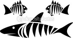 Clip Art of Tiger shark and piranhas - Search Clipart, Illustration Posters, Drawings, and EPS Vector Graphics Images - Fish Stencil, Stencil Art, Stencil Designs, Stenciling, Black And White Drawing, White Art, Tribal Shark, Shark Images, Diy Screen Printing