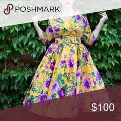 Pin up girl clothing mustard birdie swing dress Worn once! Perfect condition. Comes with belt, no petticoat. No longer available on their website!! pin up girl clothing Dresses Midi