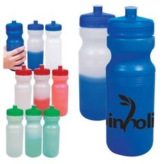 The Custom Branded 24 oz. Color Changing Water Bottle changes color when you add cold water. It is made of HDPE plastic in the USA. It features a leak resistant screw top with wide mouth design and pull-spout. It is BPA-Free and recyclable under symbol 2. The bottle colors start out clear frosted and turn color when filled. Lid colors math bottle's full color.