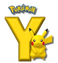 Abecedario de Pikachu de Pokémon. Pikachu Alphabet. Brother Birthday, Boy Birthday, Happy Birthday, Pokemon Party, Pokemon Birthday, Alphabet, Pikachu Drawing, Gaspard, Tricks