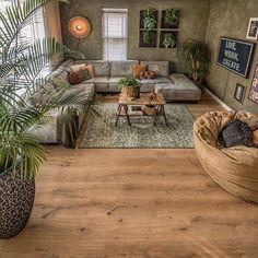 Living Room Green, Boho Living Room, Cozy Living Rooms, Home And Living, Living Room Decor, Home Room Design, Living Room Designs, Interior Design Living Room, House Design