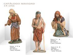 PASTORA Nº10, PASTORES Nº12 y Nº11. Figuras de belén/pesebre, de terracota policromada, de 14 cm. Autor José Luis Mayo Lebrija.