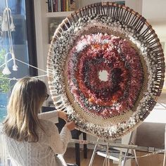 SUNDAY SUNLIGHT working on the final touches of each piece is so satisfying. I have nearly completed this circular tapestry and I'm really happy with the outcome. The colours and the textures are what I had hoped for. Check out my instastory to see the process #tapestry #circular #tammykanat #satisfied Weaving Textiles, Tapestry Weaving, Woven Wall Hanging, Tapestry Wall Hanging, Wall Hangings, Paper Bag Flooring, Mummy Crafts, Circular Weaving, Woven Wrap