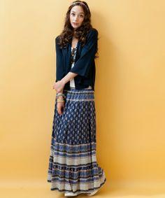 green label relaxing WOMENS(グリーンレーベルリラクシングウィメンズ)の[NET限定]INDIA パネルPRT マキシスカート(スカート)|詳細画像