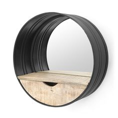 By-Boo Ronde Metalen Wandspiegel - cm - Sweet Living Shop Black Mirror, Round Mirrors, Garden Hose, Toilet, Tray, Sweet, Projects, Black Vanity, Candy