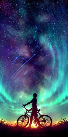 Said the Stars by Wenqing Yan [Yuumei art] Yuumei Art, Ciel Nocturne, Exposure Photography, Night Photography, Anime Scenery, Cute Wallpapers, Iphone Wallpapers, Wallpaper Backgrounds, Wallpaper Space