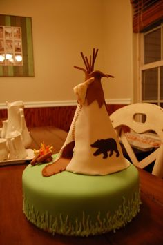 "teepee birthday cake. This is my idea for making an American Girl birthday party into a ""Kaya"" party--fun for boys and girls!"