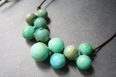 Blown Glass Necklace  Turquoise Sea Planet  by LikeAGlassShop