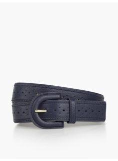 Woman Pebbled Leather Spectator Belt - Indigo Blue
