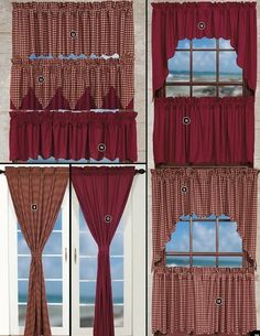 gingham curtains with solid valance | Solid Curtain Panels - Curtains & Valances