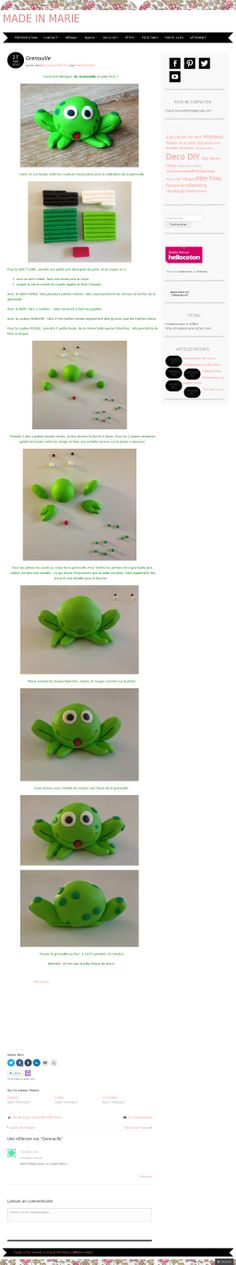 The website - Grenouille - Tuto Nature Crafts, Clay, Album, How To Make, Frogs, Cupcake, Dessert, Sugar Paste, Clays