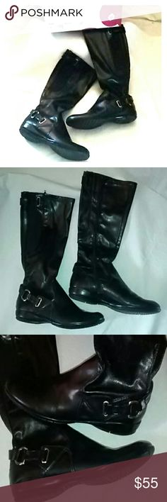 """NEW ~Bp-Tammi~ Blk Stretch Side Zip Mid-Calf Boots New! BP, from Nordstrom. Blk, stretch mid-calf boots w side zip  (starts all the way at the bottom) cute silver-toned buckle detail. New condition, ** these have been worn INSIDE for no more than an hour** size 9 *"""" please note these are mid-calf style.. just don't have that option in categories** bp Shoes Combat & Moto Boots"""