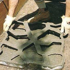 Concrete forms- my Dad and I made a path with these..worked out great! My last project with him ;-( Concrete Path, Concrete Forms, Concrete Projects, Outdoor Projects, Diy Projects, Garden Yard Ideas, Patio Ideas, Garden Pavers, Faux Stone Panels