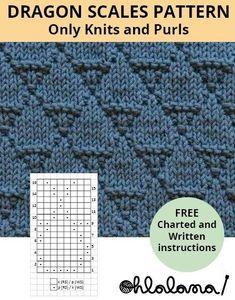 DRAGON SCALES - Knitting patterns, knitting designs, knitting for beginners. Knitting Stiches, Knitting Charts, Loom Knitting, Free Knitting, Knit Purl Stitches, Start Knitting, Knitting Stitch Patterns, Beginner Knitting Patterns, Knitting Machine