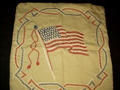 The Gatherings Antique Vintage - Patriotic Early Red White Blue Embroidered Flag Pillow, $65.00 (http://store.the-gatherings-antique-vintage.net/patriotic-early-red-white-blue-embroidered-flag-pillow/)