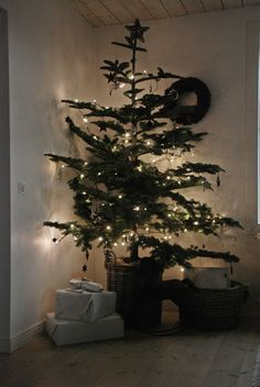 Reminds me of Christmas at mom's.  Simple with an awkward tree.
