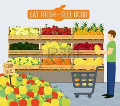 supermarket shelves: Shelves with vegetables in a supermarket. Vector illustration.