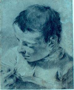 Giovanni Battista Piazzetta (Venezia, 1683 - 1754), Busto di giovane che legge un libro girato a sinistra, carboncino, gesso nero e bianco su carta grigio azzurra , mm 344 x 275. Modena, Galleria Estense