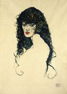 Egon Schiele- eine Frau mit schwarzen Haaren (Portrait d'une femme aux cheveux noirs), 1914