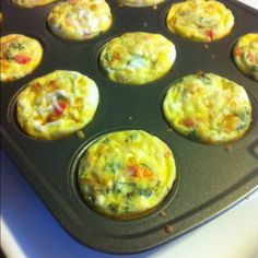 Baby Breakfast Quiches: chop up and layer cooked bacon, a medley of fresh veggies, and shredded cheese. Whip up 6-8 eggs with milk and add 1tsp of flour. Pour mixture on top. Bake for 18 mins at 350 and you have a healthy on-the-go breakfast for the week!2