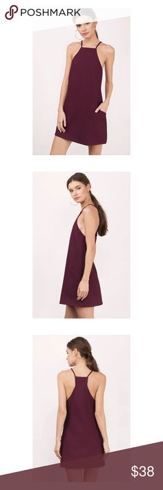 🆕 TOBI 💅🏻 Bordeaux Shift Dress Pocket shift dress in bordeaux wine from Tobi. Features a halter neckline with thin straps, and angled front pockets for an edgy detail with a shift body for an easy and relaxed silhouette // US size S // only worn 2-3x and in excellent condition 🐚💅🏻✨ Tobi Dresses Mini