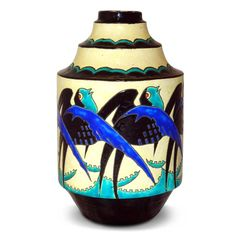 """Art Deco geometric Keramis pottery vase with stylised swallow decoration by Charles CATTEAU for Boch Freres, Belgium c1925.  Boch Freres marks. H.: 11.25"""".  (hva)"""