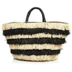 Kayu Pinata Fringe Tote (555 RON) ❤ liked on Polyvore featuring bags, handbags, tote bags, black, tote handbags, handbags totes, black handbags, beach tote bags and black tote purse