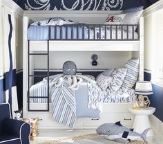 Discover boys room ideas and inspiration at Pottery Barn Kids. Shop our favorite boys bedrooms for furniture, bedding, and more. Boys Nautical Bedroom, Kids Bedroom Boys, Boy Room, Nautical Theme, Nautical Room Decor, Nautical Bedding, Childrens Bedroom, Nautical Stripes, Kid Bedrooms