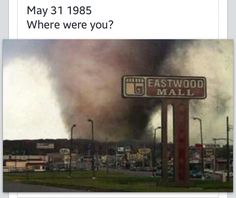 May 1985 tornado, right by my apartment in Niles, Ohio. Tornados, Thunderstorms, Severe Weather, Extreme Weather, Natural Phenomena, Natural Disasters, Tornado Pictures, Tornado Pics, Storm Pictures