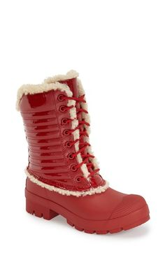Hunter Original Genuine Shearling & Patent Leather Lace-Up Rain Boot (Women) available at #Nordstrom